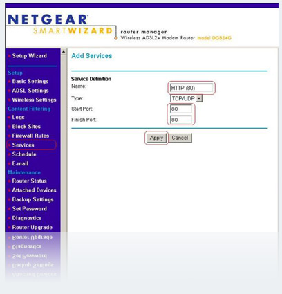 Forwordport NETGEAR D834G
